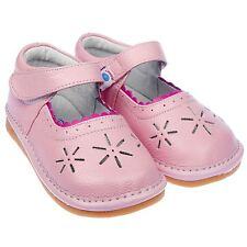Freycoo Girls Toddler Childrens Kids Real Leather Squeaky Shoes Pink - Wide Fit