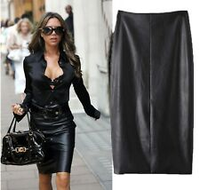 Gorgeous Black Butter Faux Leather High Waist Midi Pencil Skirt- 6,8,10,12,14,16