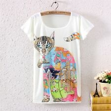 Bohemia Style Womens Short Sleeve Multicolor Cat Graphic Tee Print T Shirt Tops