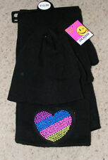 NEW WOMENS BLACK HEART  SCARF HAT & GLOVE SET JOE BOXER