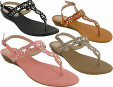 LADIES LOW HEEL DIAMONTY BUCKLE WEDGE WOMENS GLADIATOR SANDALS UK SIZES 3-8