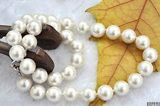 "10-14MM WHITE SHELL PEARL NECKLACE 18"" LONG  AAA"