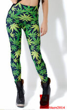 Sexy Hiphop Green Weed LUCKY Maple Leaf marijuana Print Leggings Tights Pant