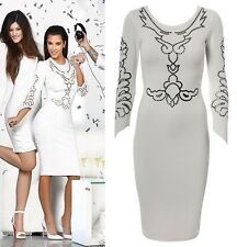 White Asymmetric Cut Long Sleeves Sequins Illusion Glitter Bodycon Midi Dress