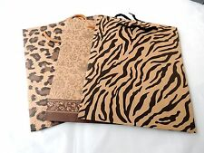 12 Zebra, Leopard, Damask Print Kraft Paper 10x8x3 inch Tote Bags with Handles