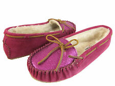 Minnetonka  Womens  Kayla Slipper Black Grey Brown Or Pink Suede Moccasins Shoes