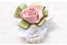 HANDMADE Bridal Wedding Flowers Ribbon Wrist Hand Flowers Corsage Bridesmaids