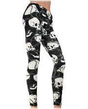Liquorbrand Skull & Chains Stretch Punk Gothic Leggings Pinup Horror Sexy Pants