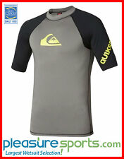 Quiksilver All Time Short Sleeve Men's Rashguard 50+ UV Protection - Grey/Blk