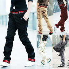 Mens Youth Stylish Jeans Straight Slim Fit Trousers Casual Long Cargo Pants