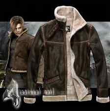 RE4 RESIDENT EVIL 4 LEON KENNEDY'S PU Faux LEATHER FUR Jackets Costume Cosplay