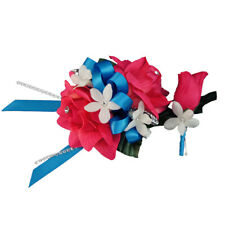 2pc:Wrist Corsage&Boutonniere.Wedding,Prom-Pick ribbon color match suit/dress