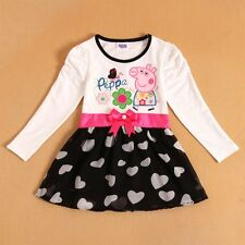 NEW Baby Peppa Pig Girls Dress Long-Sleeved Models Cute Cartoon Outfit SZ 2T - 6