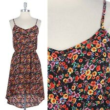 Spaghetti Strap All Over Floral Print High Low Hem Dress Cute Casual Poly S M L