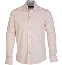 Guide London  Long Sleeve High Collar Stretch  Shirt with Triple Button Pink