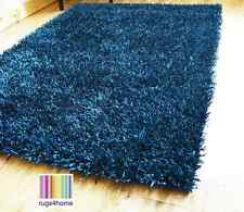 NEW MODERN JADE / DARK TEAL THICK NON SHED SPAGHETTI SPARKLE SHAGGY AREA RUG MAT