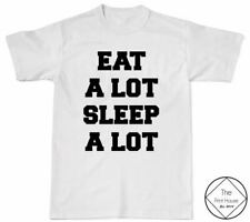 Eat A Lot Sleep A Lot T Shirt Womens Girls Mens Hipster Quote Tumblr Blogger Top