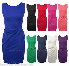 New Ladies Sleeveless Side Knot Bow Party Bodycon Dress Women Plain Dresses 8-22