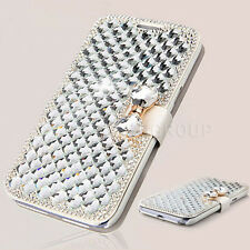 Luxury Bling Crystal Diamond Bow Synthetic Leather Case Cover for Mobile Phones