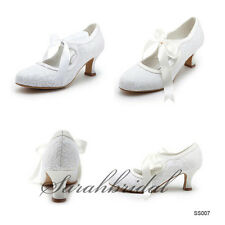 2014 Cheap Lace White Ivory Women Mid Heel Wedding In Stock Party Bridal Shoes