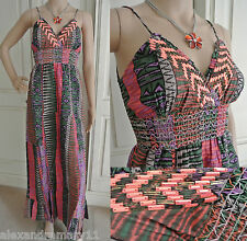 River Island Maxi Dress Pink Purple Green Sequin Strappy Summer 6 - 12 New