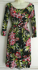 M&S Skater Dress Black Pink Green Floral Leaf Size 2-20