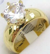 14K GOLD EP 4.4CT DIAMOND SIMULATED SOLITAIRE RING size 5 - 11 you choose