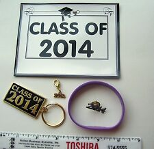 GRADUATION CLASS OF 2014 KEYCHAIN SILICONE BRACELET, CHARM, PIN & 2014 MAGNET
