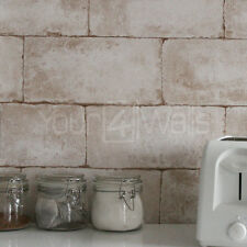 'Breeze Block' wallpaper Stone Concrete Brick Effect Wallpaper - Beige & Natural
