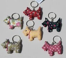 Lovely Scottie Dog Key Rings - 8 Designs Polka or Floral Yellow, Pink, Green