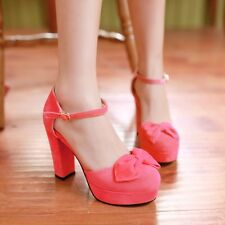 Womens Sweet Bowtie Ankle Strap Block Heel Platform Pumps Court Shoes Plus Size
