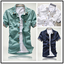 Men's Slim Short Sleeve Shirt Fit hHandsome Casual T-shirt without Ironing FD