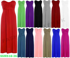 WOMENS PLUS SIZE BOW TIE KNOT STRAPLESS BOOBTUBE MAXI DRESS BANDEAU DRESS 16-26