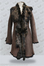 Brown Gold 3/4 Ladies Women's Real Toscana Sheepskin Leather Jacket Trench Coat