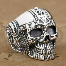 Gothic Tattoo Skull 925 Sterling Silver Mens Biker Ring 9G005A Mens Jewellery