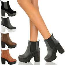 NEW LADIES WOMENS HIGH HEEL BLOCK PLATFORM LOW ANKLE CHELSEA BOOTS SHOES SIZE
