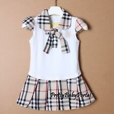 NEW GIRLS Baby Toddler Kid's  Clothes Short Sleeve Plaid One Piece Dress