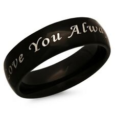 Love You Always Stainless Steel Black Promise Ring - Free inside Engraving