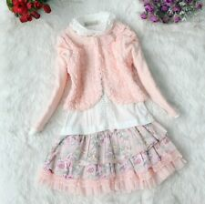 Saucy Girls Baby Dusty Rose Coat+T-Shirts+Floral Princess Skirt Kids Suits Sets