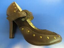 TESLA 03 Brown Gear Heels Shoes Steampunk Mary Jane Strap Sexy Costume Accessory