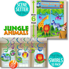 JUNGLE ANIMALS ZOO BIRTHDAY PARTY DECORATIONS SCENE SETTER OR SWIRL DECORATIONS