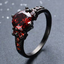 Jewelry Brand new fashion beautiful Ruby lady's14KT Black Gold Filled Ring free