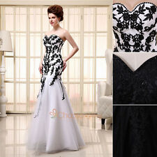 2014 Mermaid Sheath Pageant Gown Black White Sweetheart Formal Dresses In Stock
