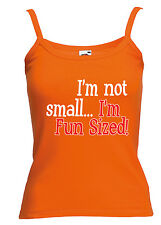 Womens Funny Sayings Slogans Vests Not Small..Fun Sized On FOTL Strap Vest