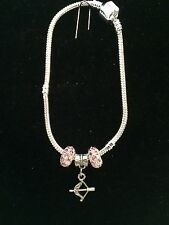 Silver Plated Bracelet w/ SAGITTARIUS Zodiac Astrology Sign Charm & Crystal Bead