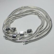 Silver Plated Snake Chain Plain Clasp Charm Bracelet Fit European Beads 16-23cm