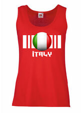 Womens Italy Flag Tank Top Vest On Fruit of the Loom Valueweight-5 Colours