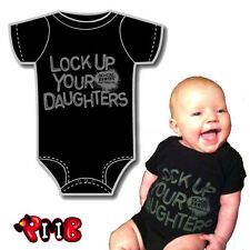 SoCal Baby Lock up Your Daughters Funny Punk Tattoo Onesie Romper Bodysuit Gift