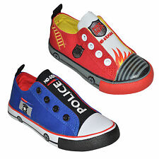 Boys Girls Funky Police /Fire Dept Canvas Kids Trainers Shoes Size UK Infant 5-9