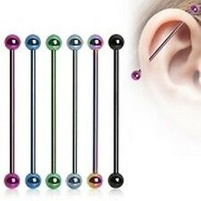 14G 1&1/2'' Titanium Anodized Straight Industrial Barbell Tongue with 5 mm Balls